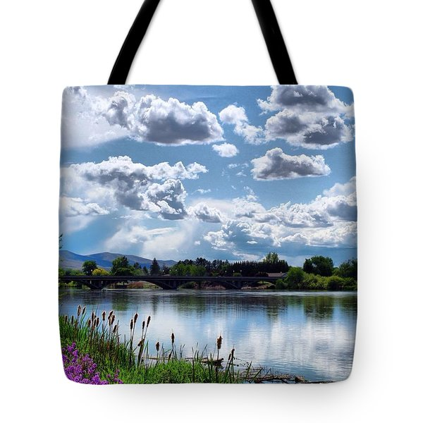 Clouds Over The River Tote Bag by Lynn Hopwood