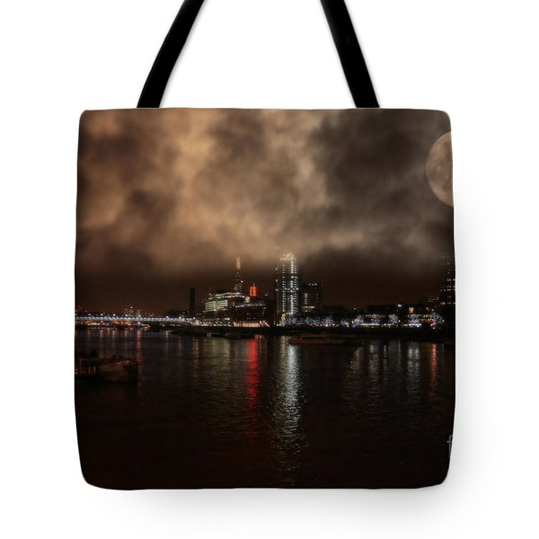 Clouds Over The River Thames Tote Bag by Doc Braham