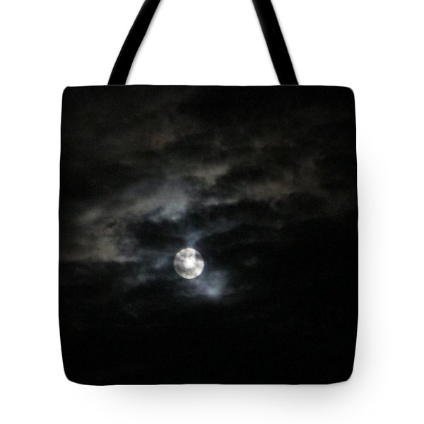 Tote Bag featuring the photograph Night Time Cloudy Dark Moon by Barbara Yearty