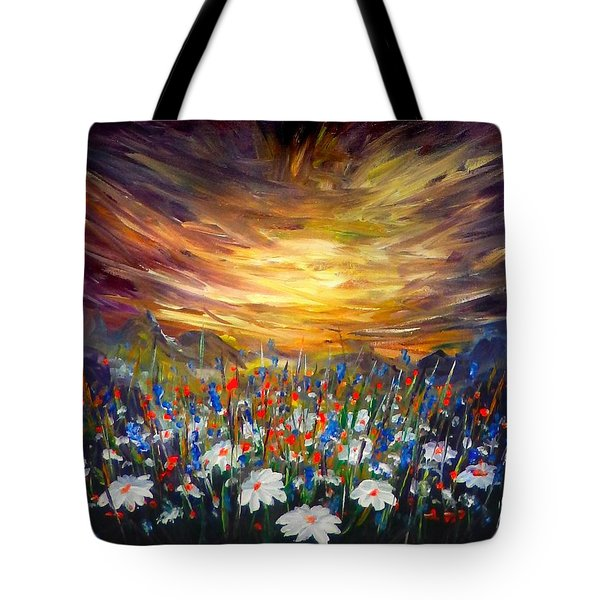 Tote Bag featuring the painting Cloudy Sunset In Valley by Lilia D