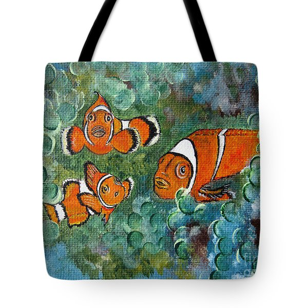 Clown Fish Art Original Tropical Painting Tote Bag