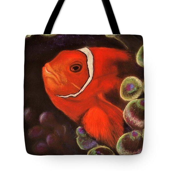 Clown Fish In Hiding  Pastel Tote Bag
