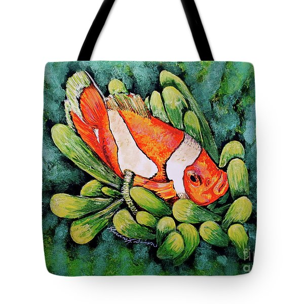 Clown In The Anemone Tote Bag by Linda Simon