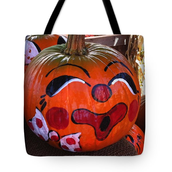 Tote Bag featuring the photograph Clown Pumpkin by Denyse Duhaime