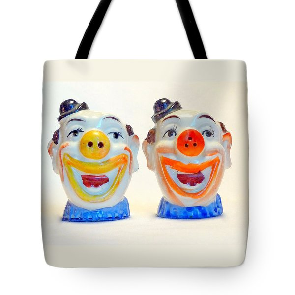 Tote Bag featuring the photograph Vintage Clown Salt And Pepper Shakers by Jim Whalen