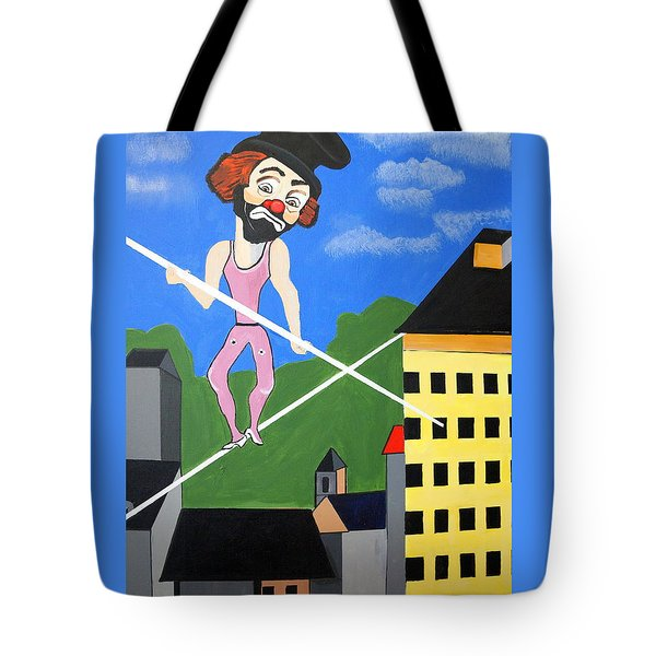 Tote Bag featuring the painting Clown Tight Roping by Nora Shepley