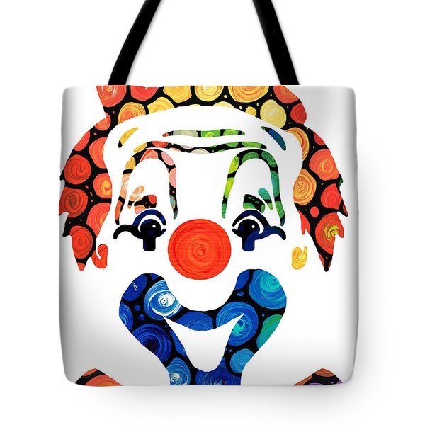 Clownin Around - Funny Circus Clown Art Tote Bag by Sharon Cummings