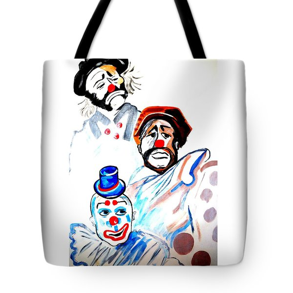 Tote Bag featuring the painting Clowns In Heaven by Nora Shepley
