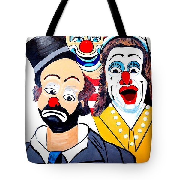 Tote Bag featuring the painting Clowns In Shock by Nora Shepley
