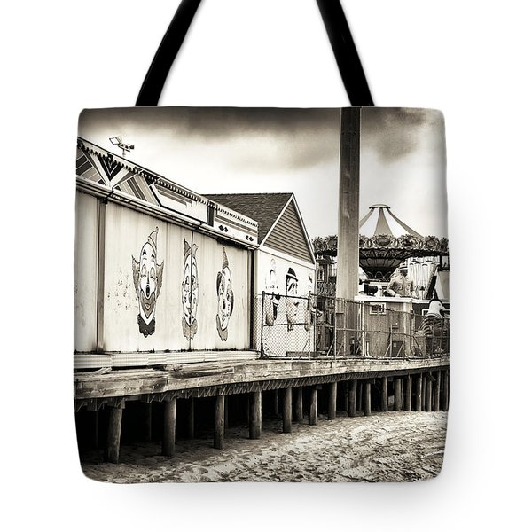 Clowns On The Pier Tote Bag by John Rizzuto