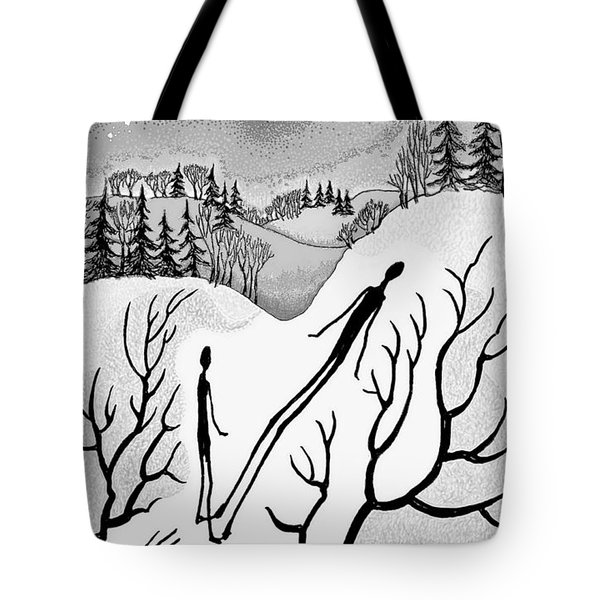 Tote Bag featuring the digital art Clutching Shadows by Carol Jacobs