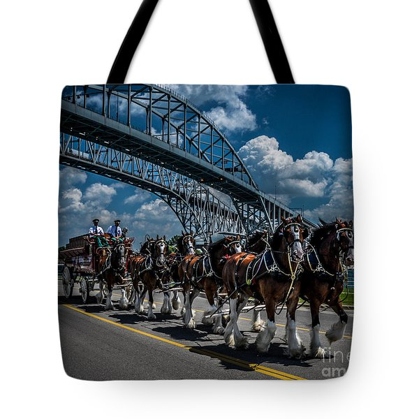 Clydesdales And Blue Water Bridges Tote Bag