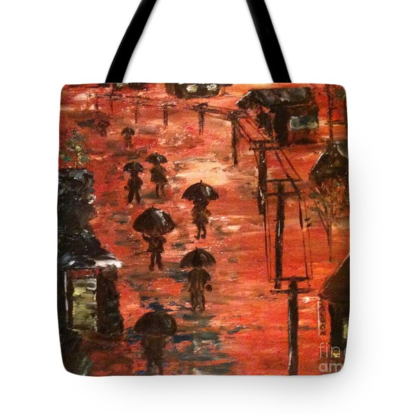 Tote Bag featuring the painting Coal Miners Cove  by Denise Tomasura