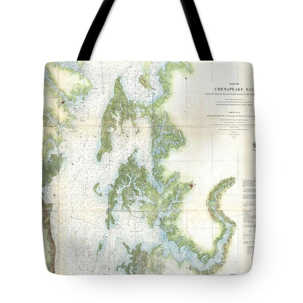 Coast Survey Chart Or Map Of The Chesapeake Bay Tote Bag