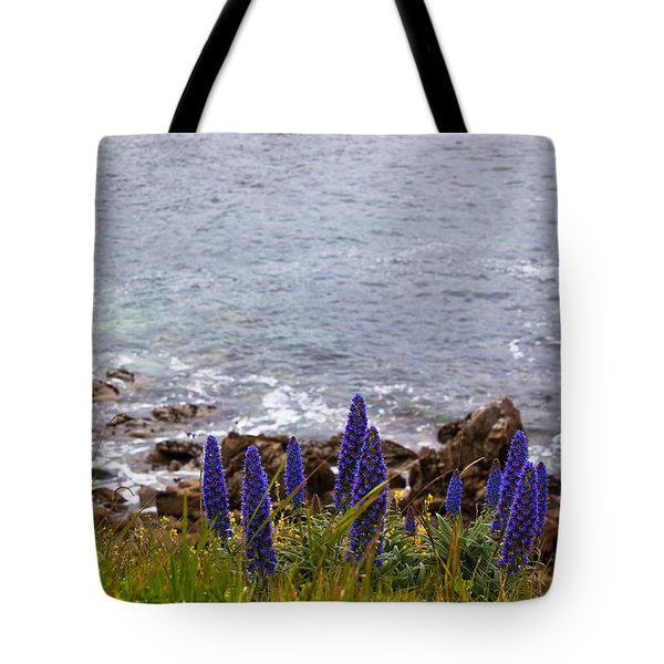 Coastal Cliff Flowers Tote Bag