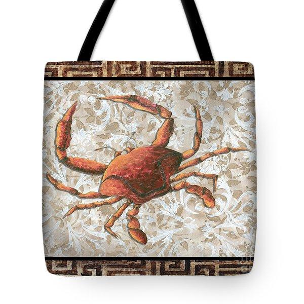 Coastal Crab Decorative Painting Greek Border Design By Madart Studios Tote Bag by Megan Duncanson