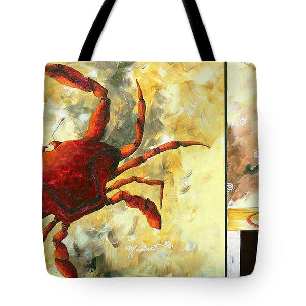 Coastal Crab Decorative Painting Original Art Coastal Luxe Crab By Madart Tote Bag by Megan Duncanson