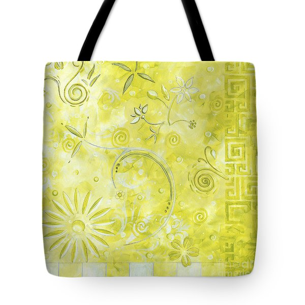 Coastal Decorative Citron Green Floral Greek Checkers Pattern Art Green Whimsy By Madart Tote Bag by Megan Duncanson