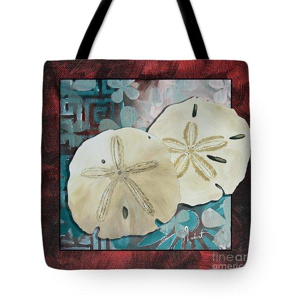 Coastal Decorative Shell Art Original Painting Sand Dollars Asian Influence I By Megan Duncanson Tote Bag by Megan Duncanson