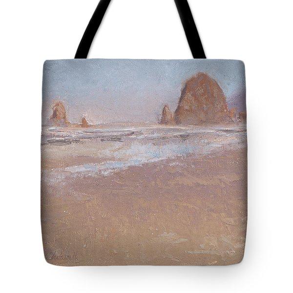 Coastal Escape  Cannon Beach Oregon And Haystack Rock  Tote Bag by Karen Whitworth