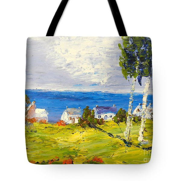 Tote Bag featuring the painting Coastal Fishing Village by Pamela  Meredith