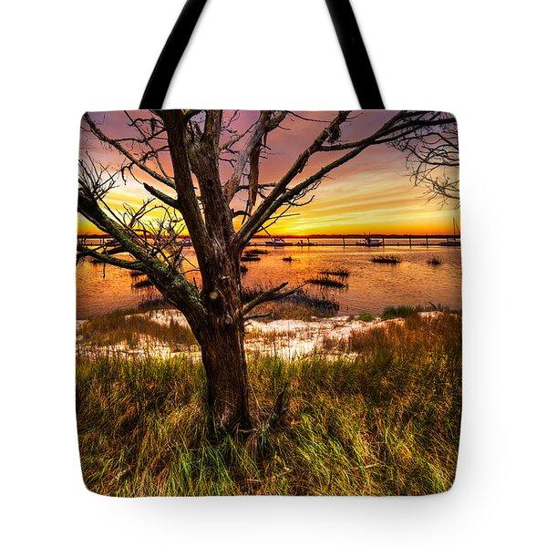Coastal Harbor Tote Bag by Debra and Dave Vanderlaan