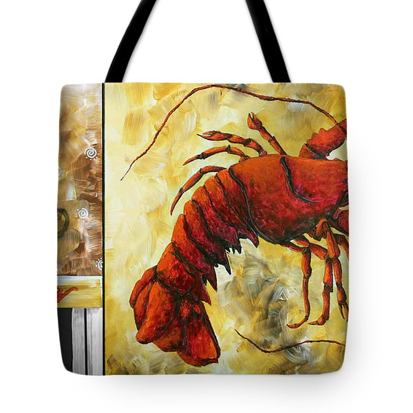 Coastal Lobster Decorative Painting Original Art Coastal Luxe Lobster By Madart Tote Bag by Megan Duncanson