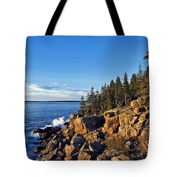 Coastal Maine Landscape. Tote Bag by John Greim