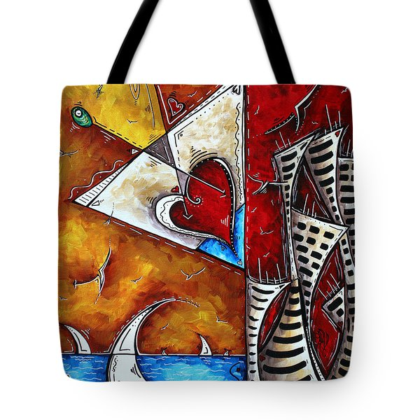 Coastal Martini Cityscape Contemporary Art Original Painting Heart Of A Martini By Madart Tote Bag by Megan Duncanson