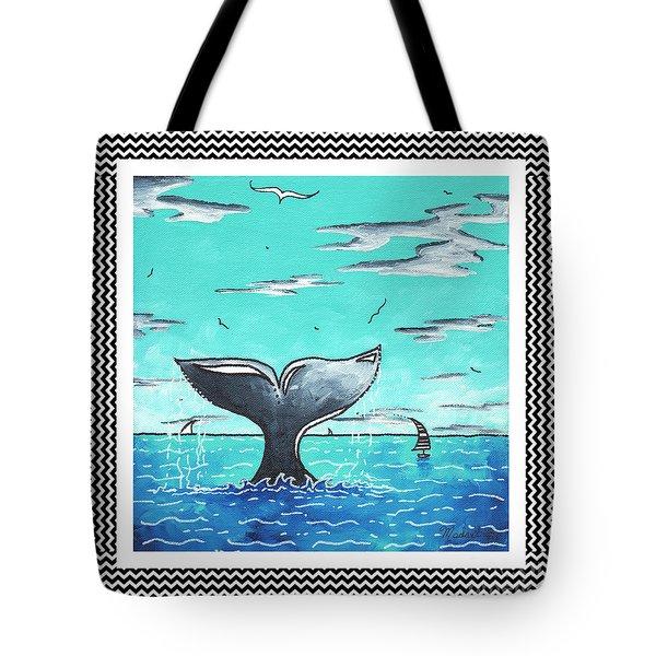 Coastal Nautical Decorative Art Original Painting Whale Tail Chevron Pattern Sea Farer By Madart Tote Bag by Megan Duncanson