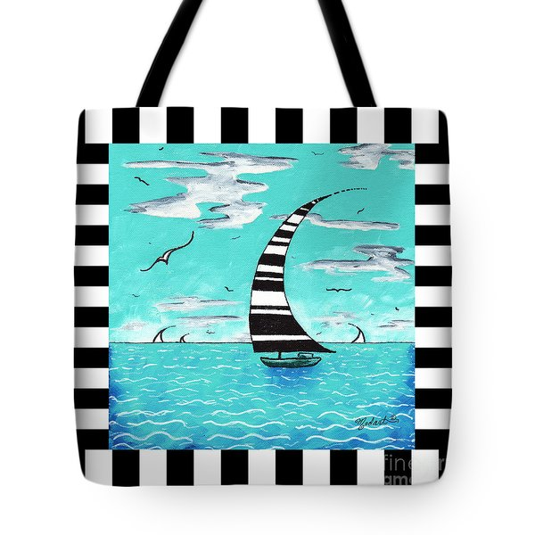Coastal Nautical Decorative Art Original Painting With Stripes Refreshing By Madart Tote Bag by Megan Duncanson