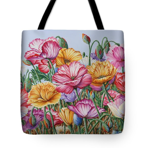 Tote Bag featuring the painting Coastal Poppies by Jane Girardot