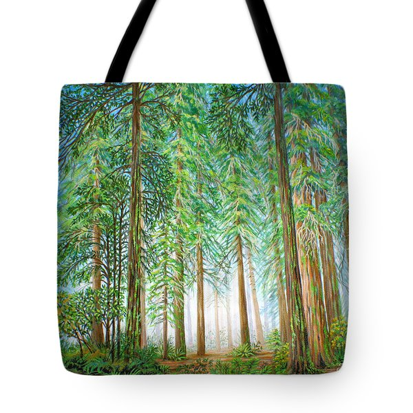 Tote Bag featuring the painting Coastal Redwoods by Jane Girardot