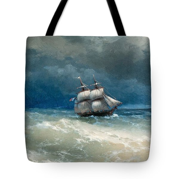 Coastal Scene With Stormy Waters Tote Bag