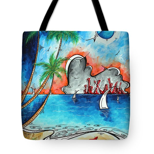 Coastal Tropical Beach Art Contemporary Painting Whimsical Design Tropical Vacation By Madart Tote Bag by Megan Duncanson