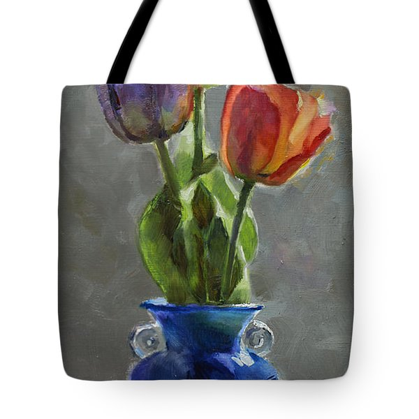 Cobalt And Tulips Still Life Painting Tote Bag