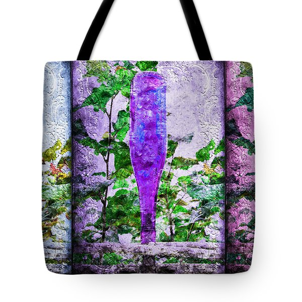 Cobalt Blue Purple And Magenta Bottles Collage Tote Bag by Andee Design
