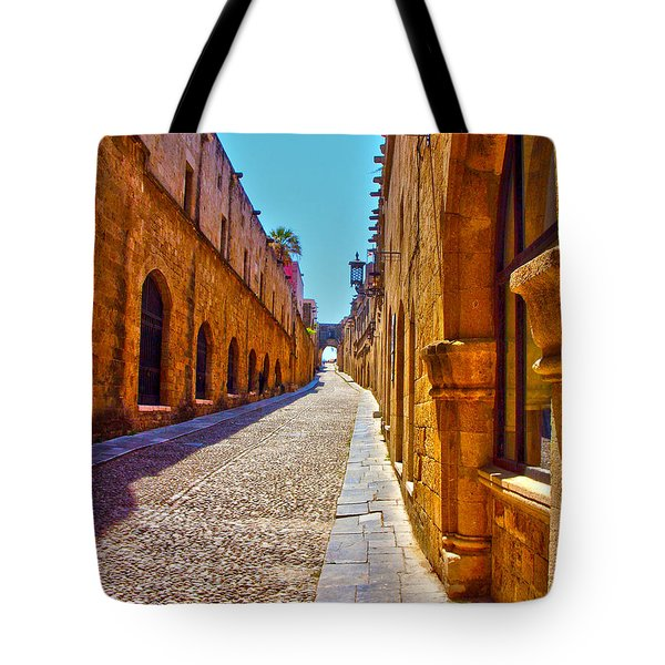 Rhodes Cobbled Street Tote Bag by Scott Carruthers