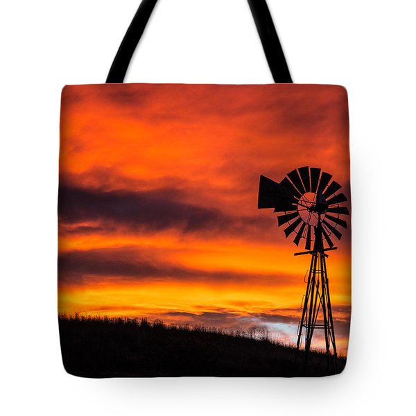 Cobblestone Windmill At Sunset Tote Bag