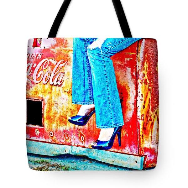 Coca-cola And Stiletto Heels Tote Bag by Toni Hopper