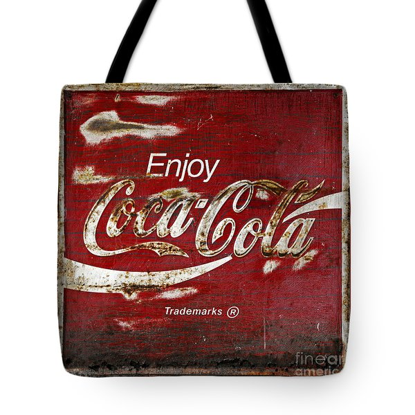 Coca Cola Red Grunge Sign Tote Bag by John Stephens