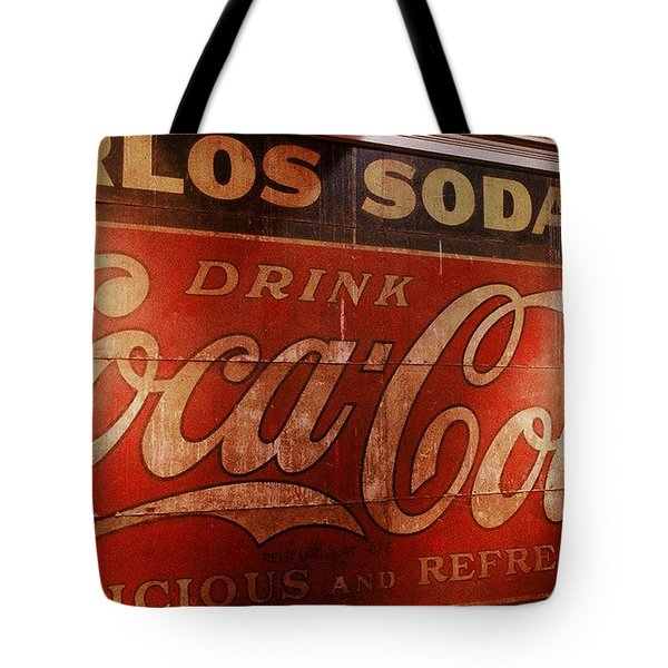 Tote Bag featuring the photograph Coca Cola Sign by Rodney Lee Williams