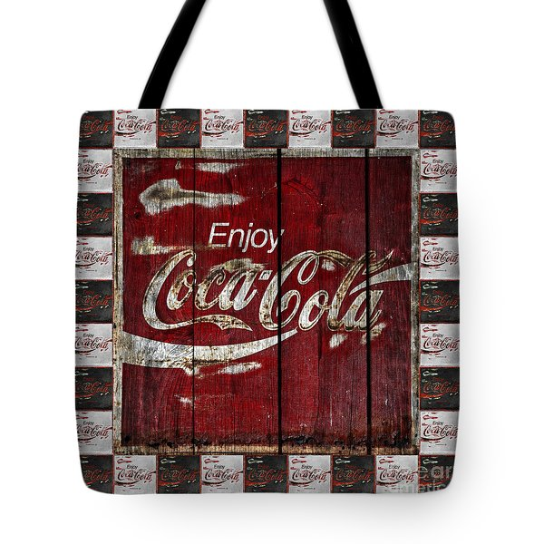 Coca Cola Sign With Little Cokes Border Tote Bag