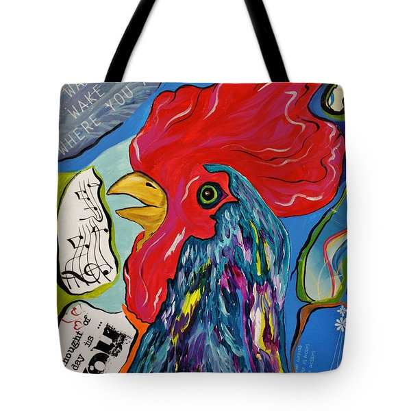 Cock-a-doodle-do Tote Bag by Janice Rae Pariza