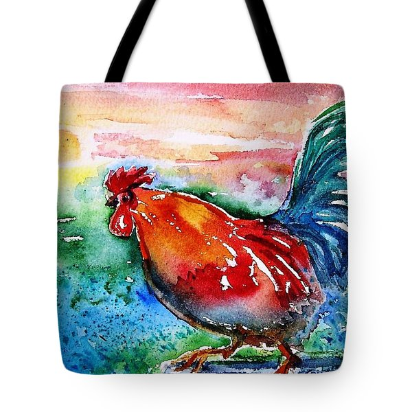 Tote Bag featuring the painting Cock A Doodle Doo  by Trudi Doyle