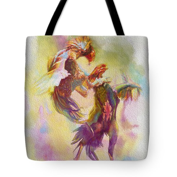 Cock Fight Tote Bag by Catf