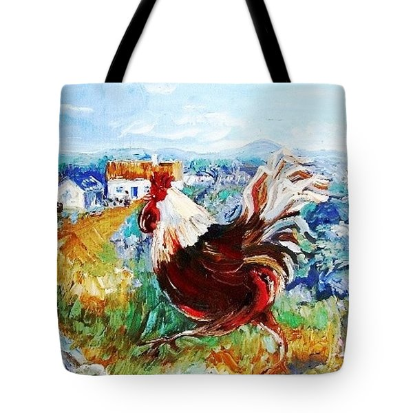 Tote Bag featuring the painting Cockerel By The Beach  by Trudi Doyle