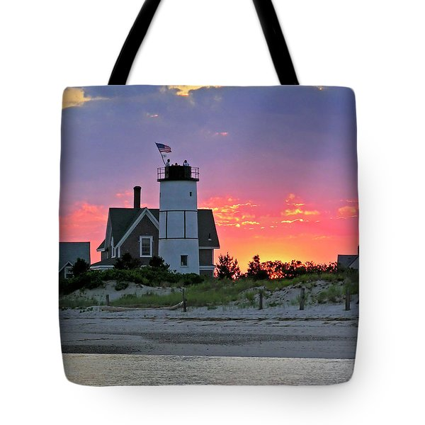 Cocktail Hour At Sandy Neck Lighthouse Tote Bag