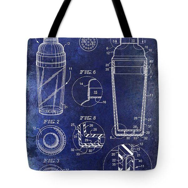 Cocktail Shaker Patent Drawing Blue Tote Bag