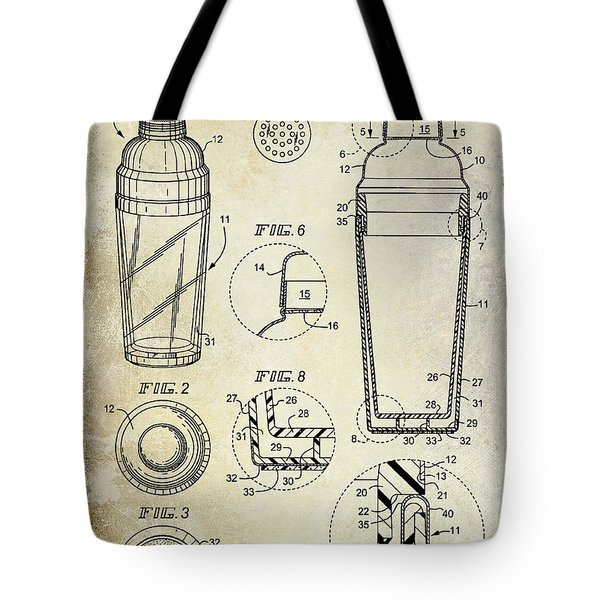 Cocktail Shaker Patent Drawing Tote Bag